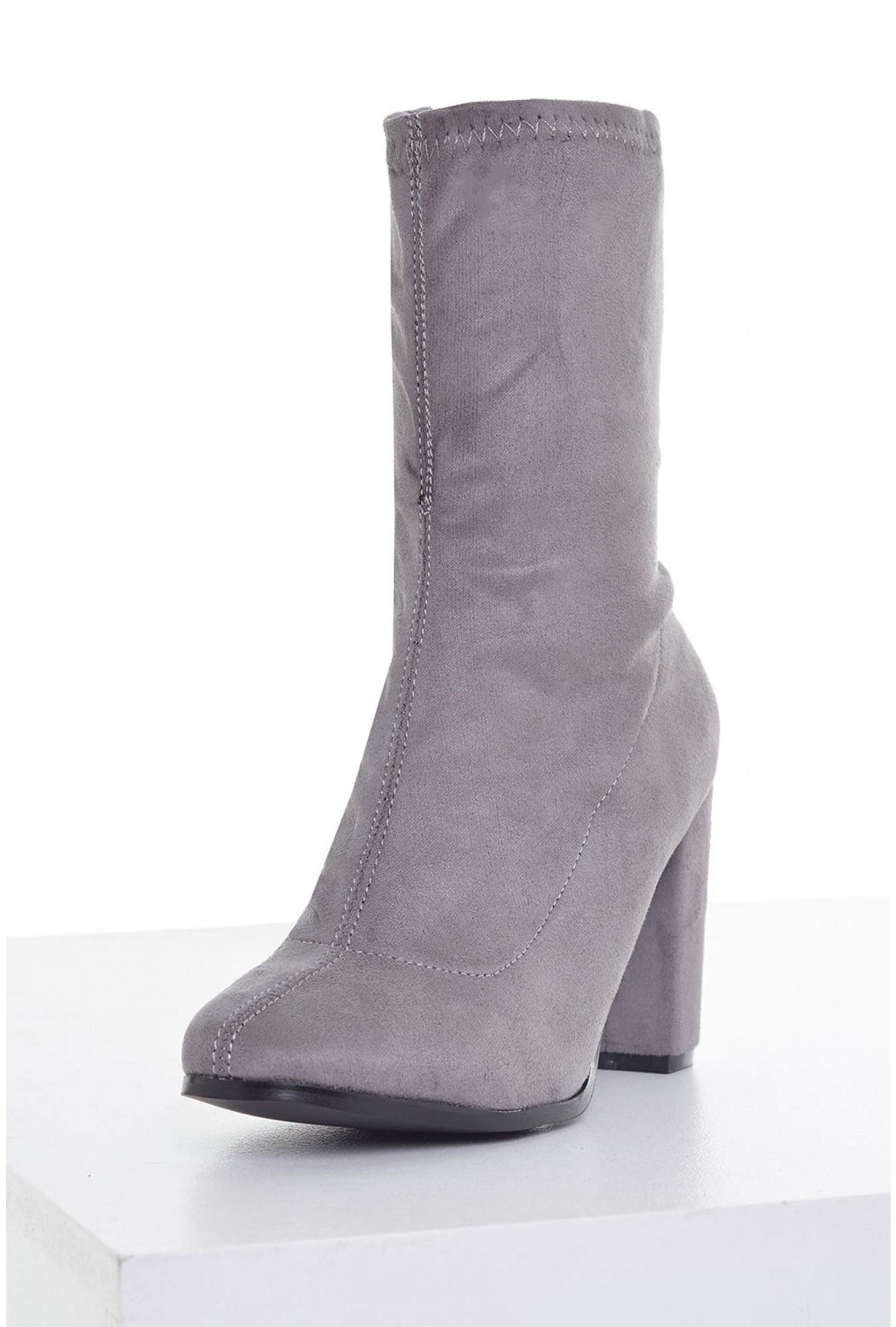 4a62212a412 No Doubt Heather Suede Sock Calf Boots in Grey