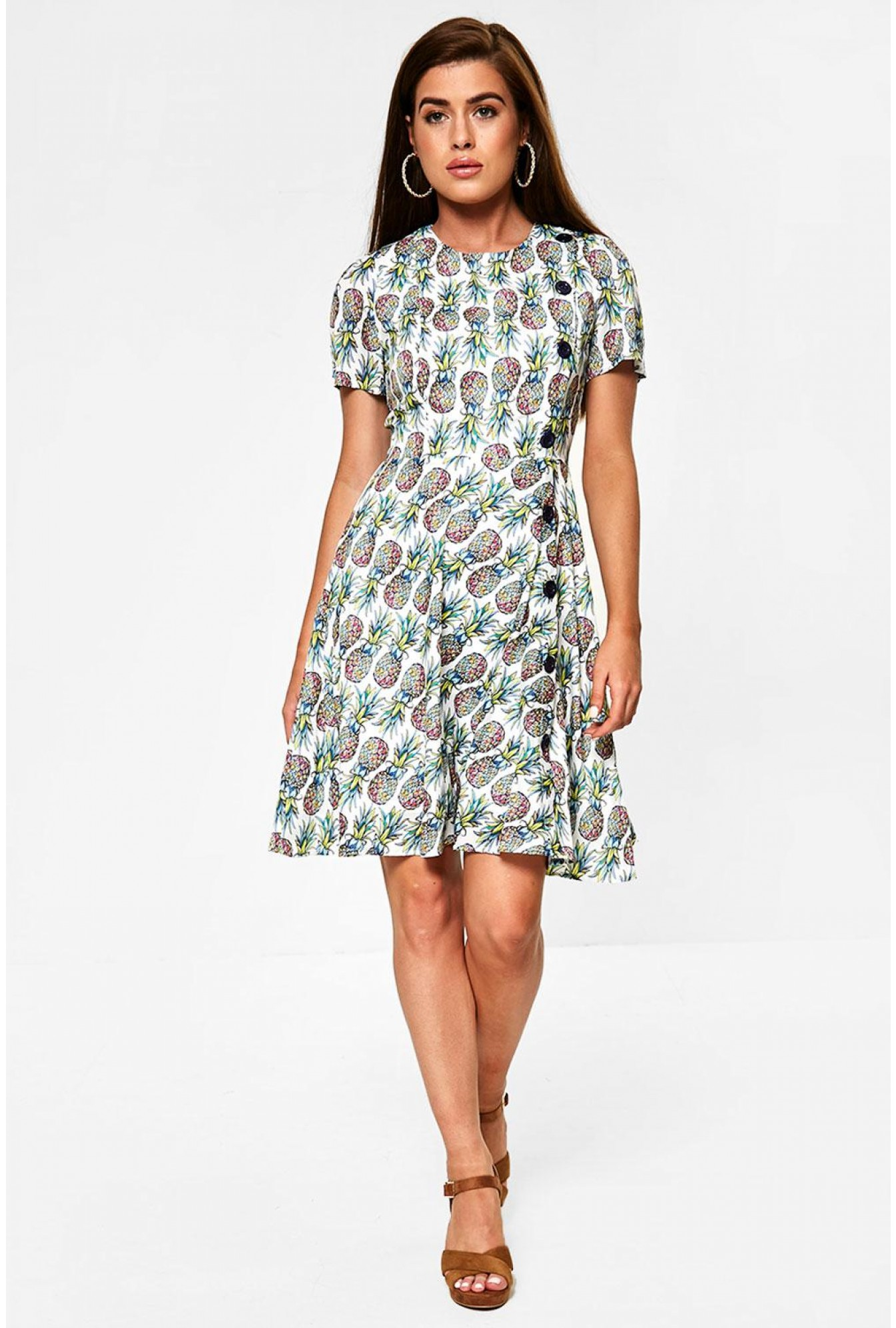 ff85b9489da826 Darling Pineapple Print Skater Dress in White | iCLOTHING