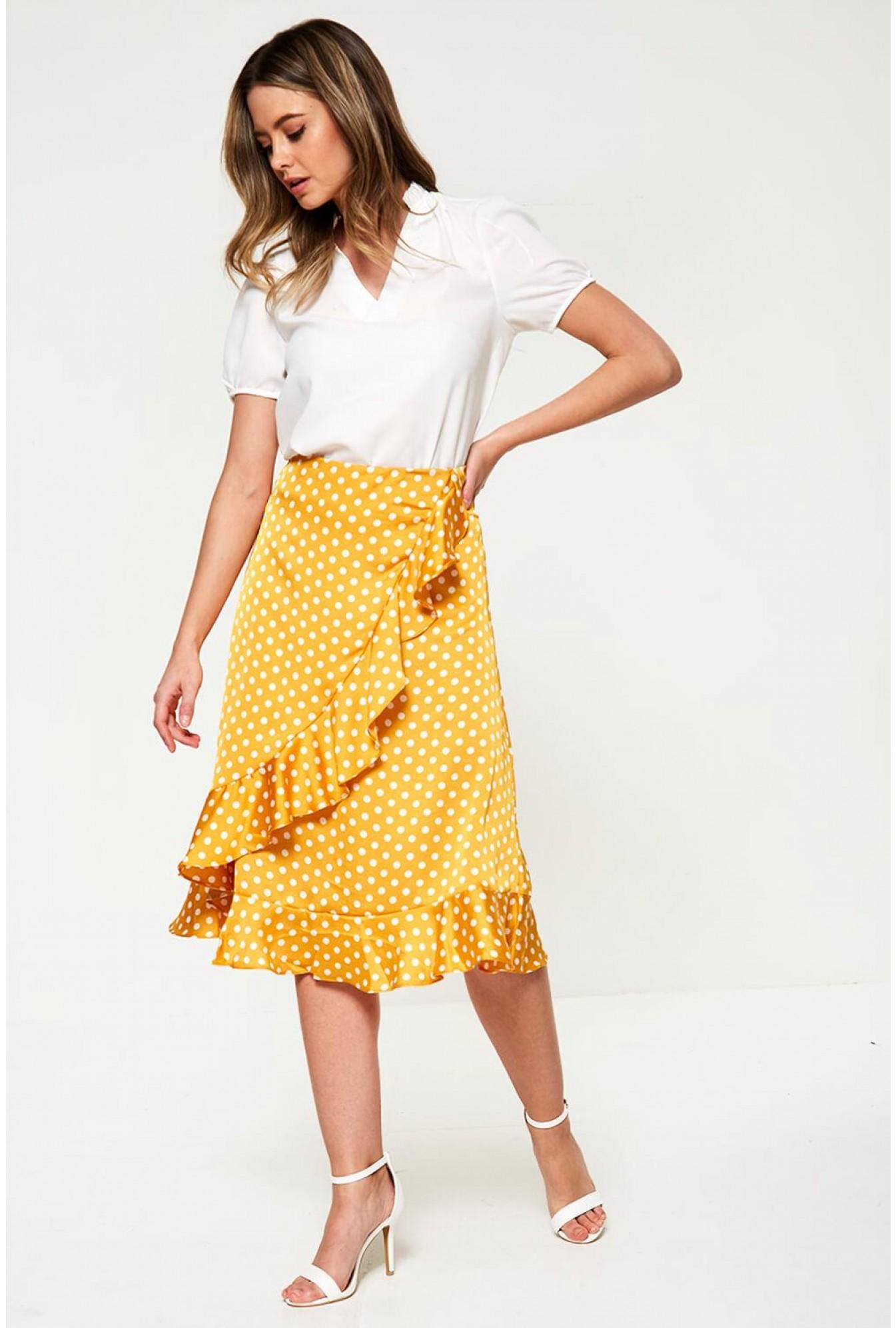 cheapest distinctive design search for genuine Polka Dot Midi Skirt in Yellow