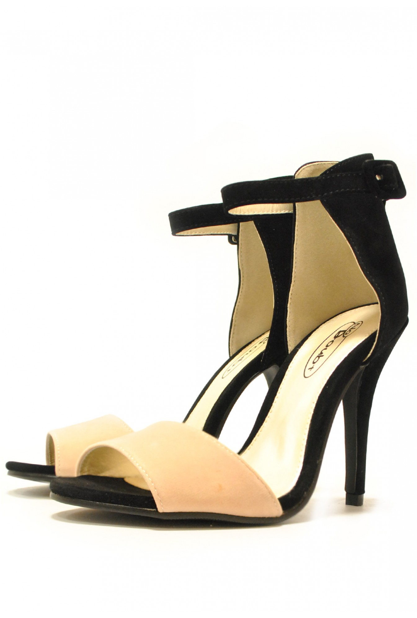 8949f6b7d9a7 More Views. Gina Tri Colour Mid Heel Sandals in Black and Cream