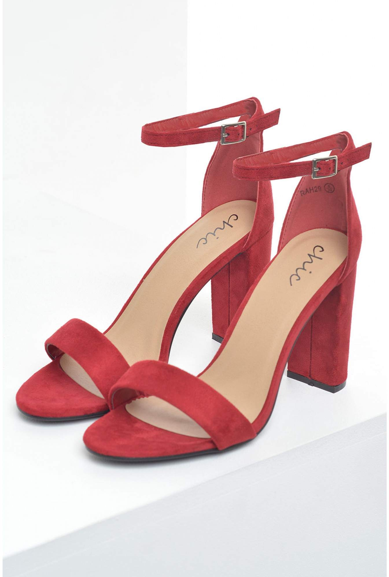7edfbe17c532 More Views. Molly Block Heel Sandals in Red Suede