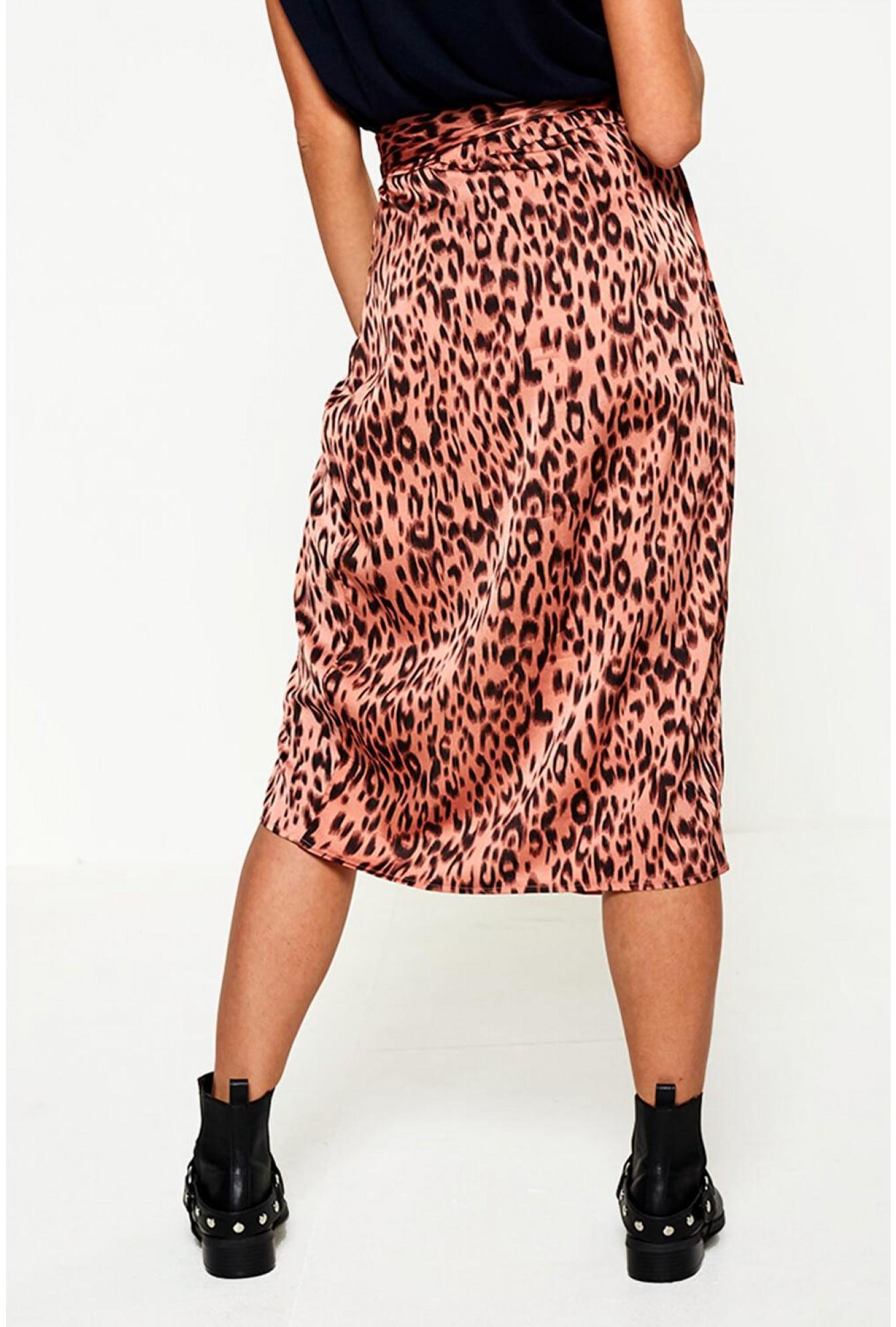 827e82bf9c10 Pixie Daisy Rica Animal Print Midi Skirt in Blush