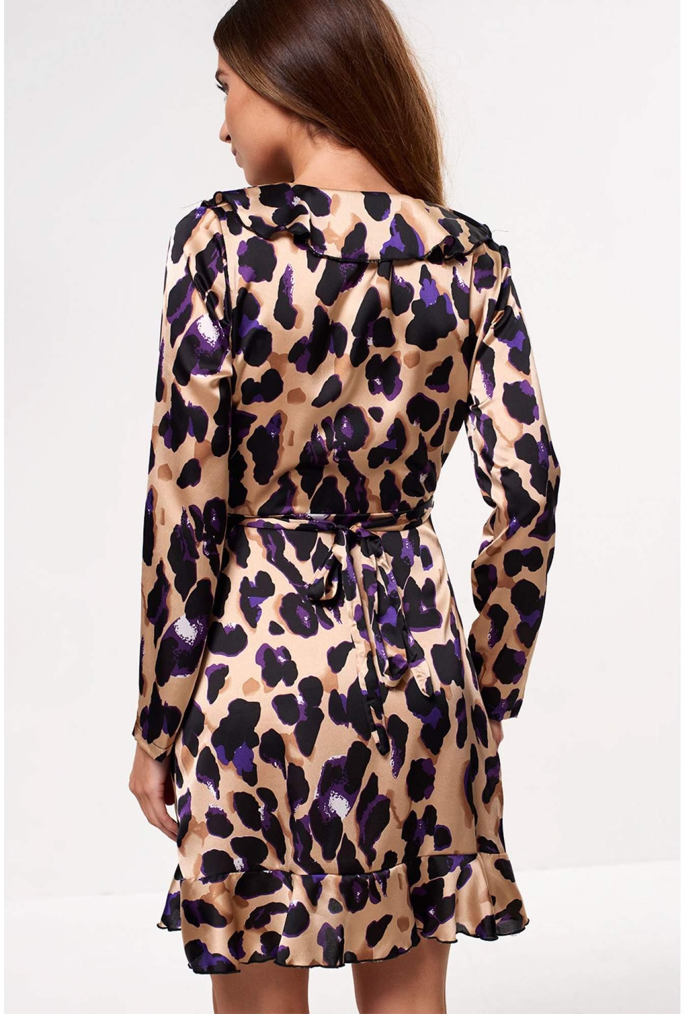 1f75a26dbb14 John Zack Kate Frill Wrap Dress in Purple Leopard Print   iCLOTHING