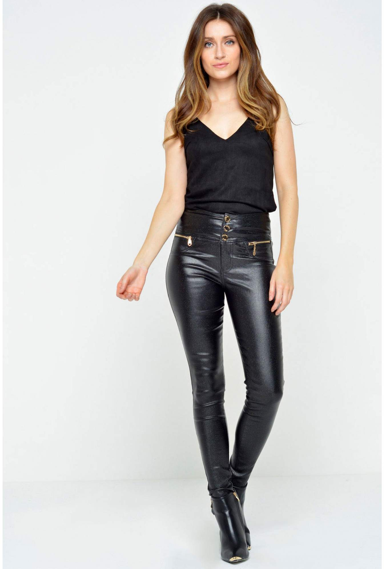 1686572ea8a6e More Views. Florence High Waisted Wax Look Trousers in Black Glitter. Denim  Club