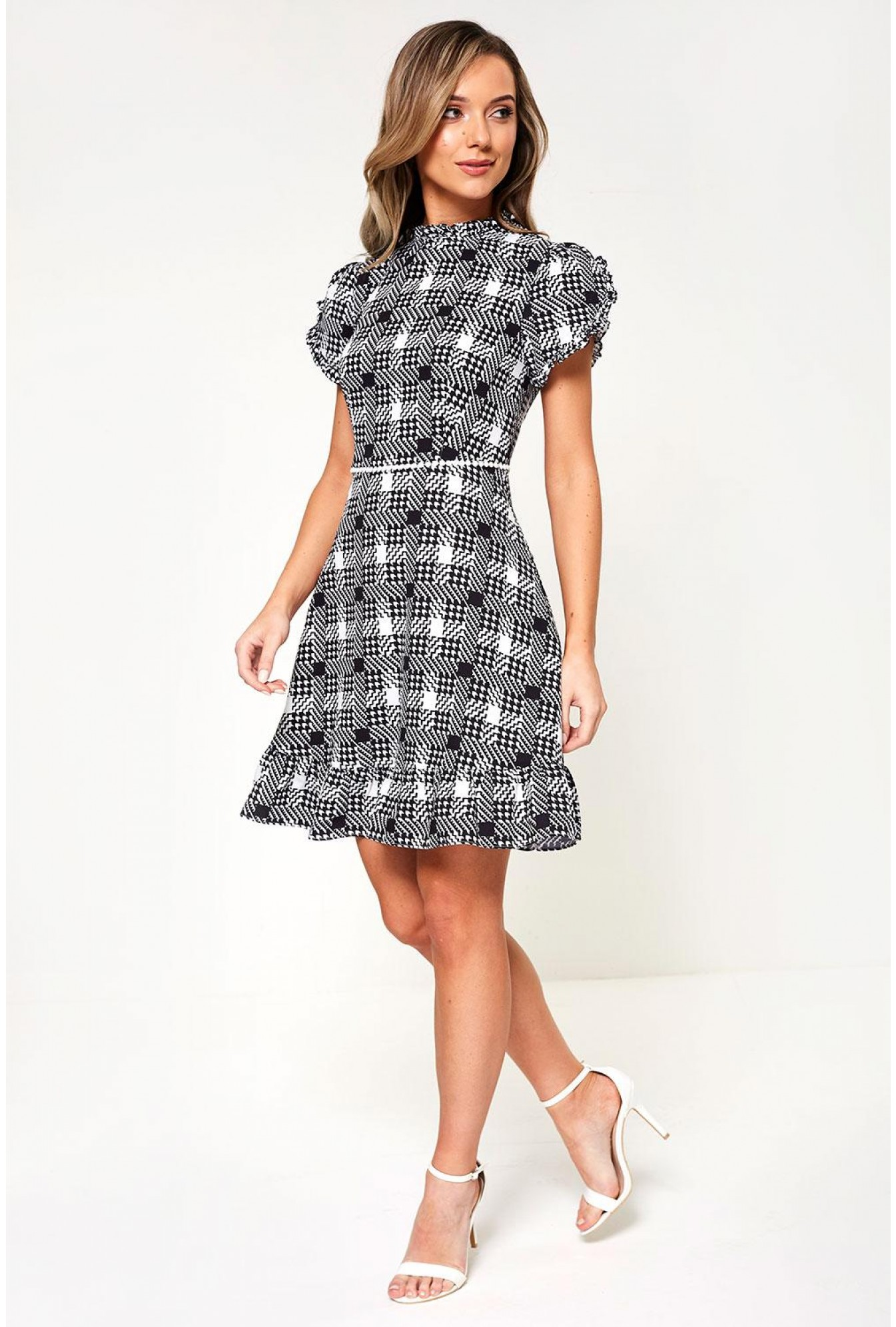 14cffb48cf4 More Views. Lucille Short Dress in Houndstooth