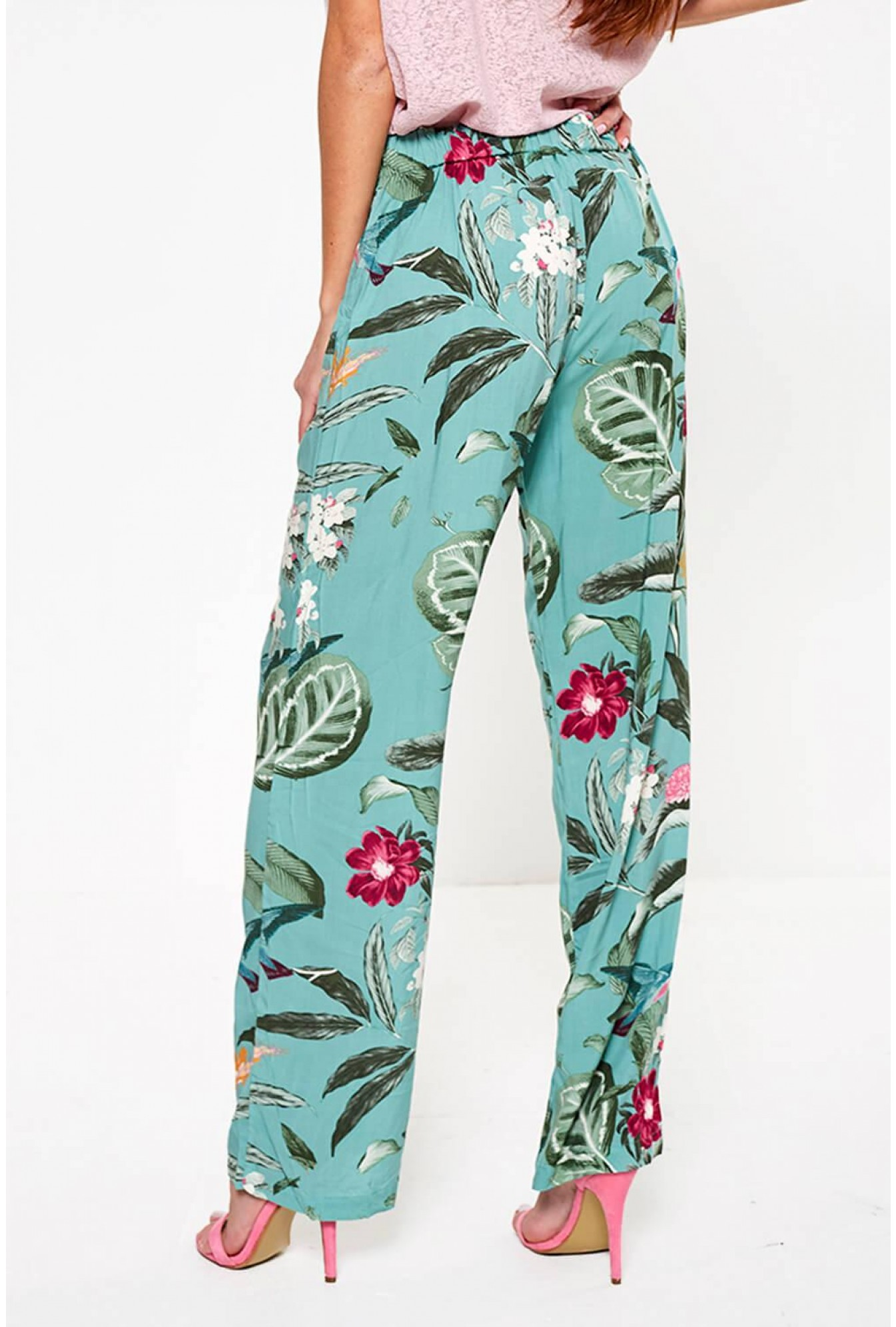 0b99395e1 Vero Moda Simply Floral Print Wide Leg Trousers in Mint | iCLOTHING