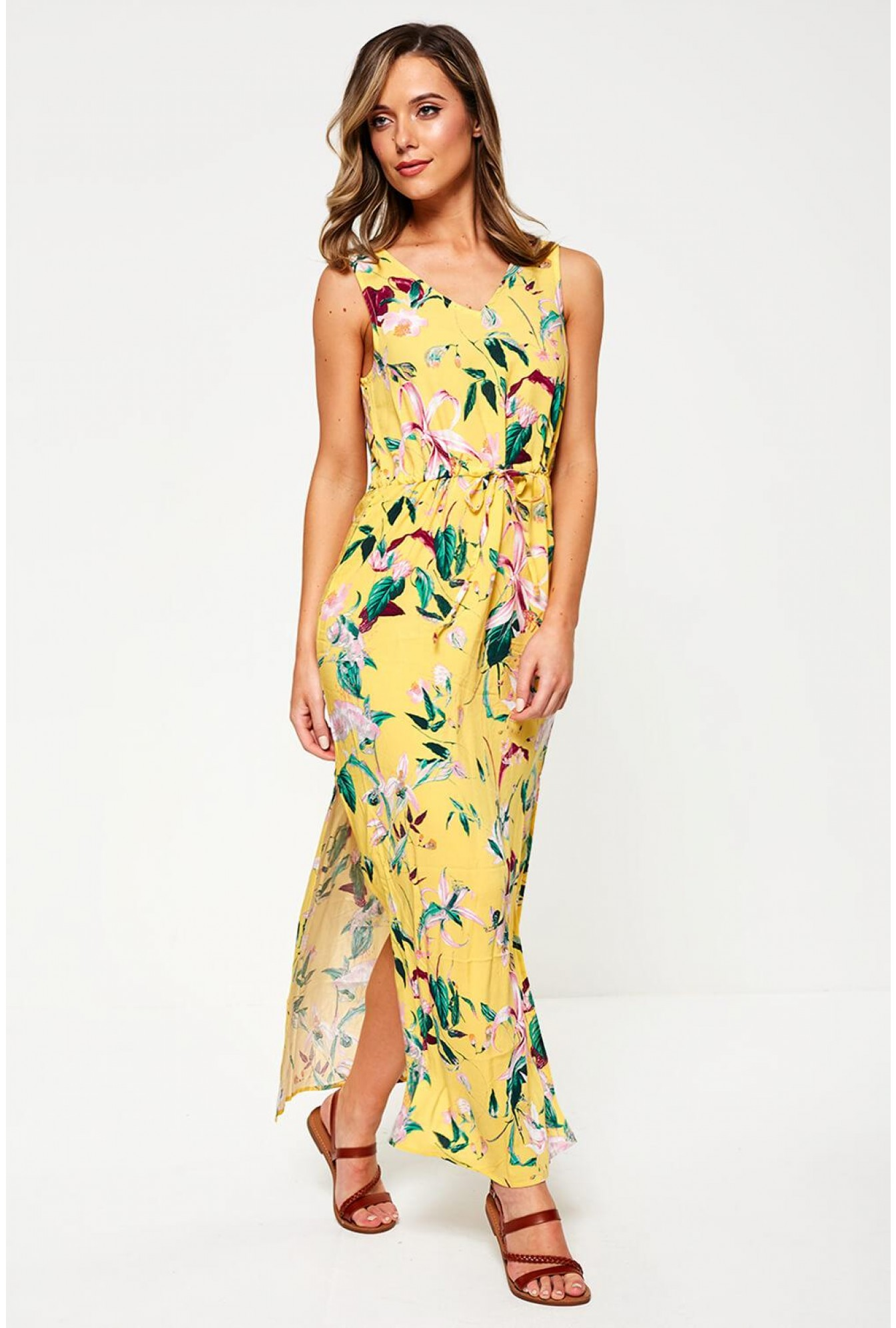 3adb6006cb2 Sleeveless Floral Print Maxi Dress in Yellow