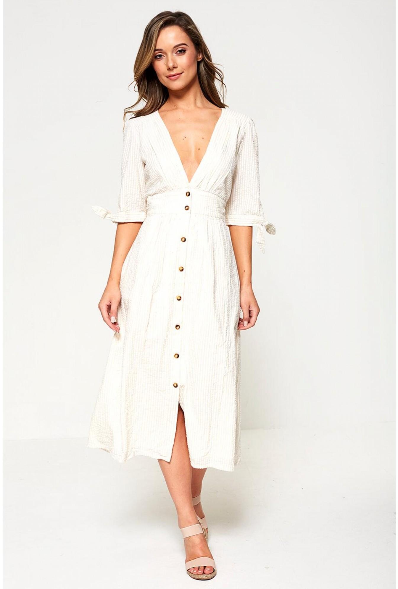 incredible prices sale uk best cheap Vero Moda Stripe Button Through Midi Dress in Light Beige | iCLOTHING