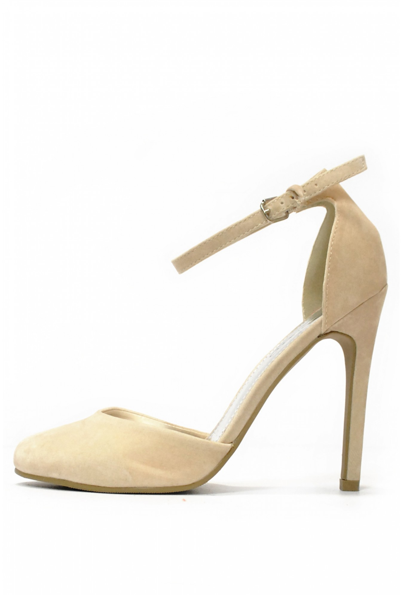 b61a6229a9f9 More Views. Nadia Ankle Strap Mid Heel Shoes in Cream