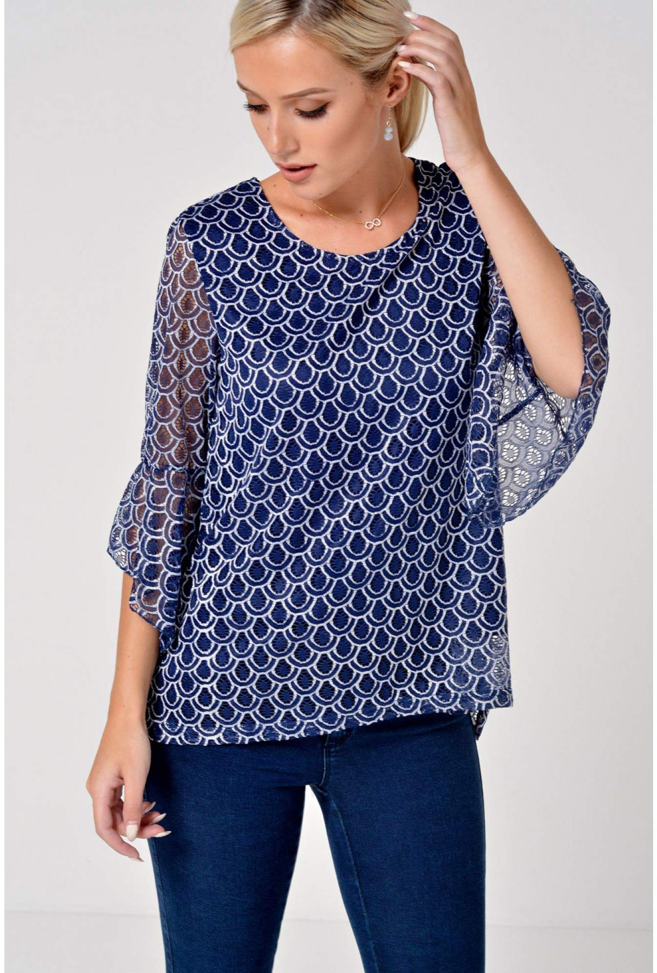More Views. Kelly Lace Flare Sleeve Top in Navy d3a5ca1d5