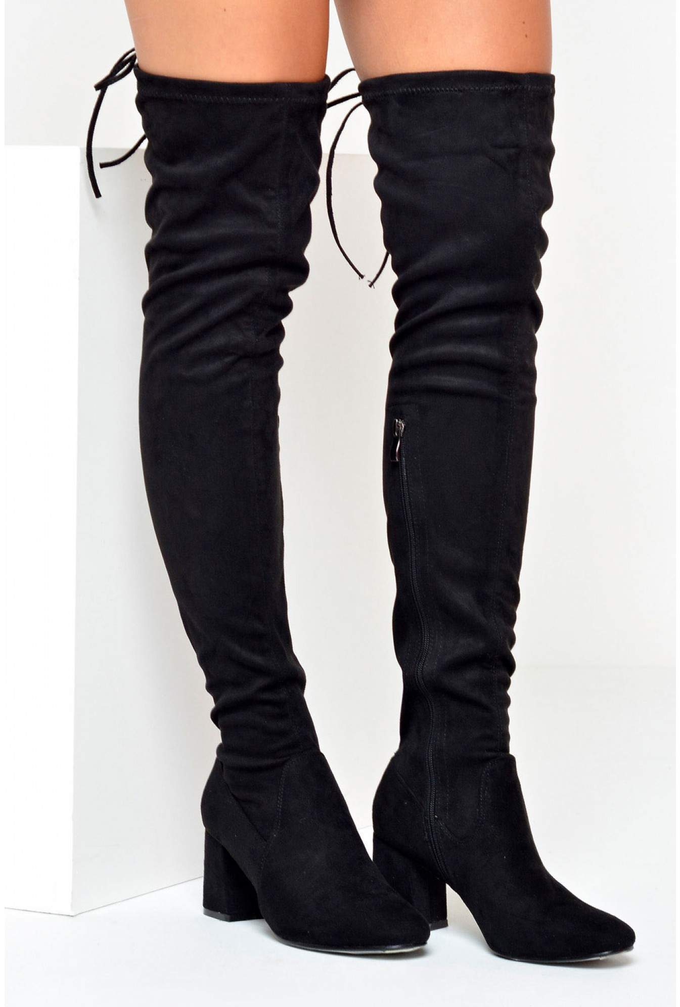cabd34e060e More Views. Wendy Over The Knee Sock Boots in Black Suede