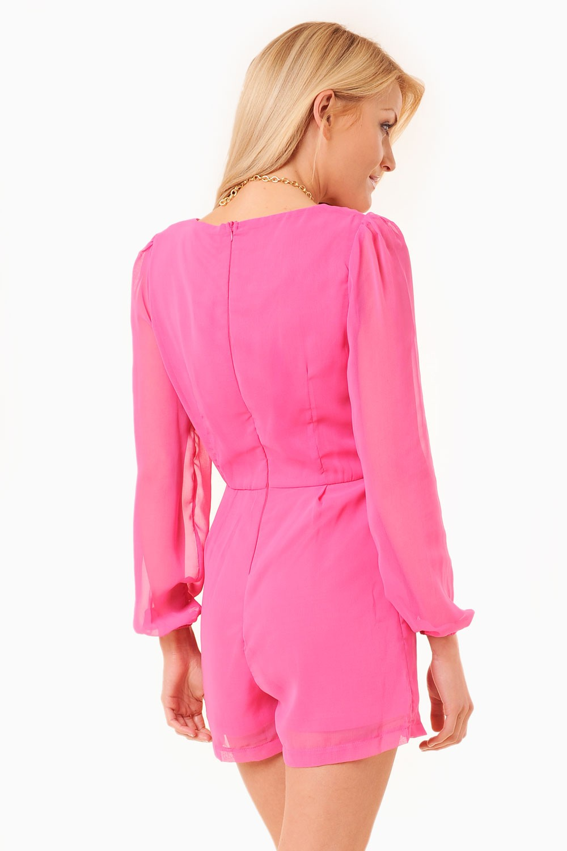 AX Paris Nadine Pleat Front Chiffon Playsuit in Pink