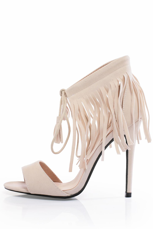 258f1cf3b40 Noella Fringe Heeled Sandals in Beige