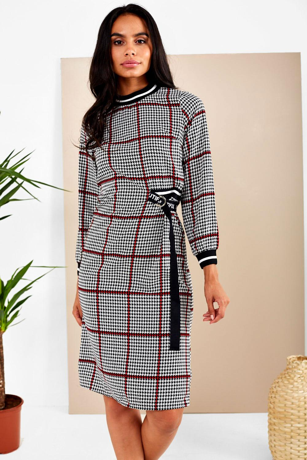 bd92403593 Kyla Houndstooth Print Dress with Contrast Trim