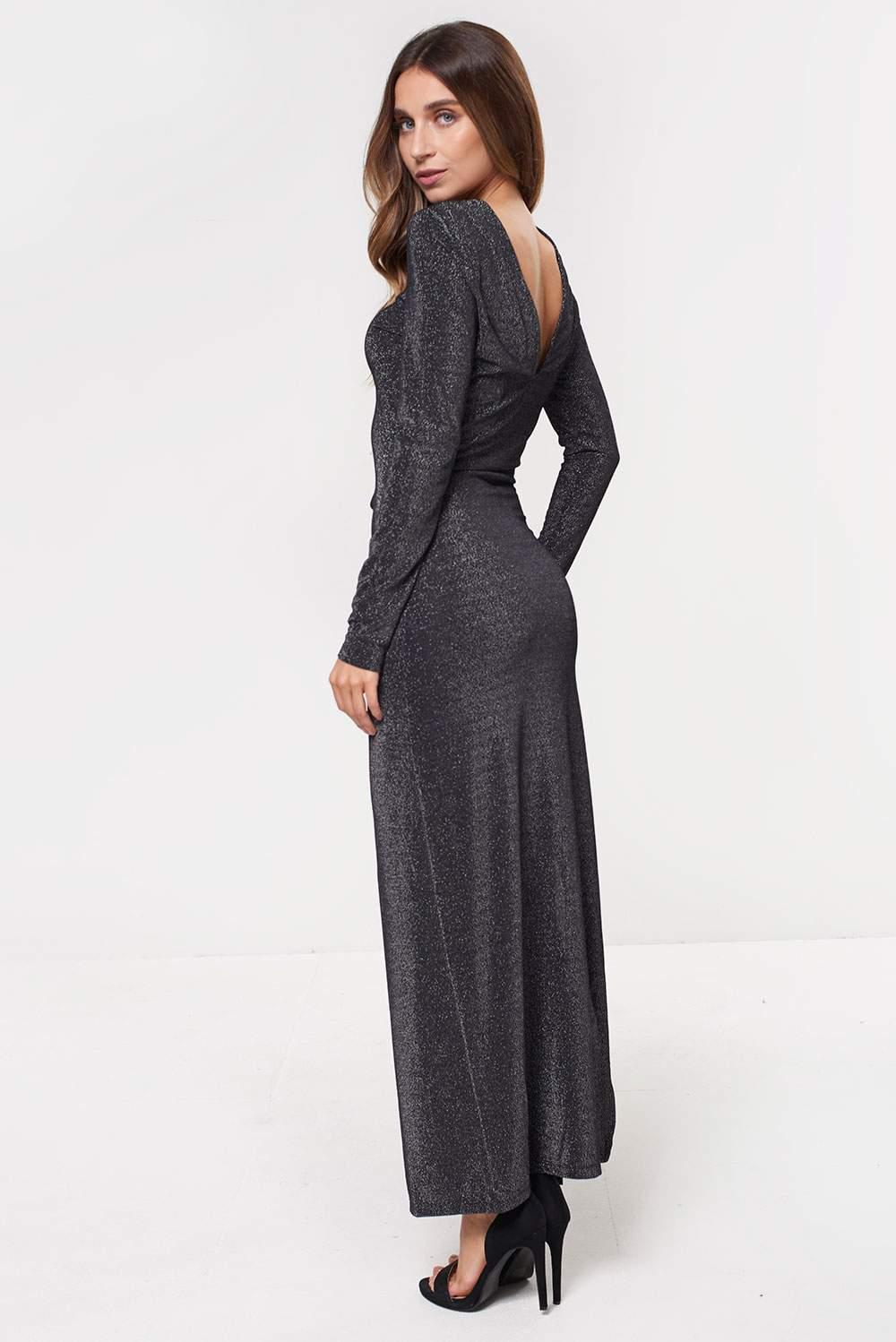 Vila Ibbo Long Sleeve Maxi Dress in Silver Glitter  e8692a50a