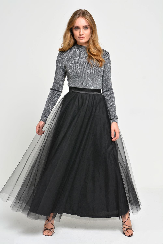50820730e787 Marc Angelo Amy Tulle Midi Skirt in Black