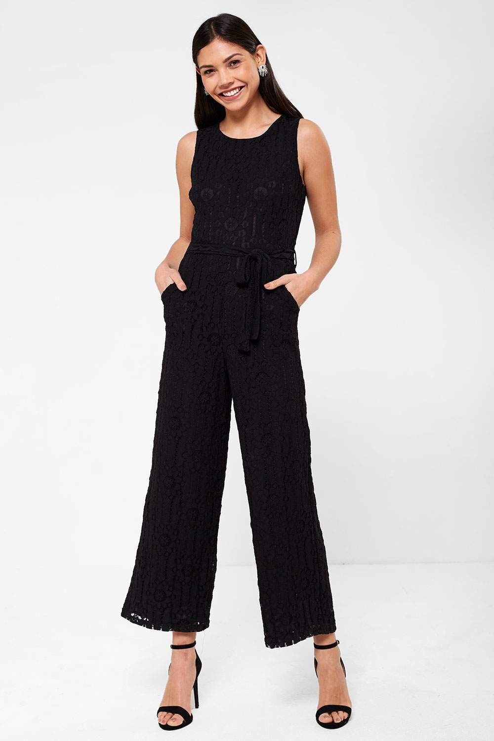 3b44fe77f89 Marc Angelo Donna Occasion Crochet Jumpsuit in Black
